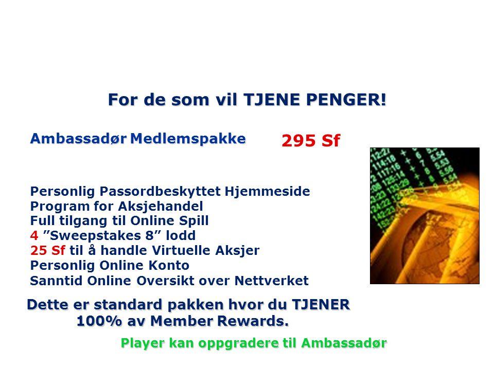 """For de som vil TJENE PENGER! Ambassadør Medlemspakke Personlig Passordbeskyttet Hjemmeside Program for Aksjehandel Full tilgang til Online Spill 4 """"Sw"""
