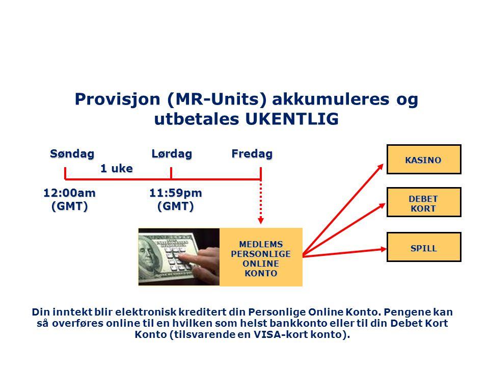 Provisjon (MR-Units) akkumuleres og utbetales UKENTLIG Søndag Lørdag Fredag 1 uke KASINO DEBET KORT 12:00am (GMT) 11:59pm (GMT) SPILL MEDLEMS PERSONLI