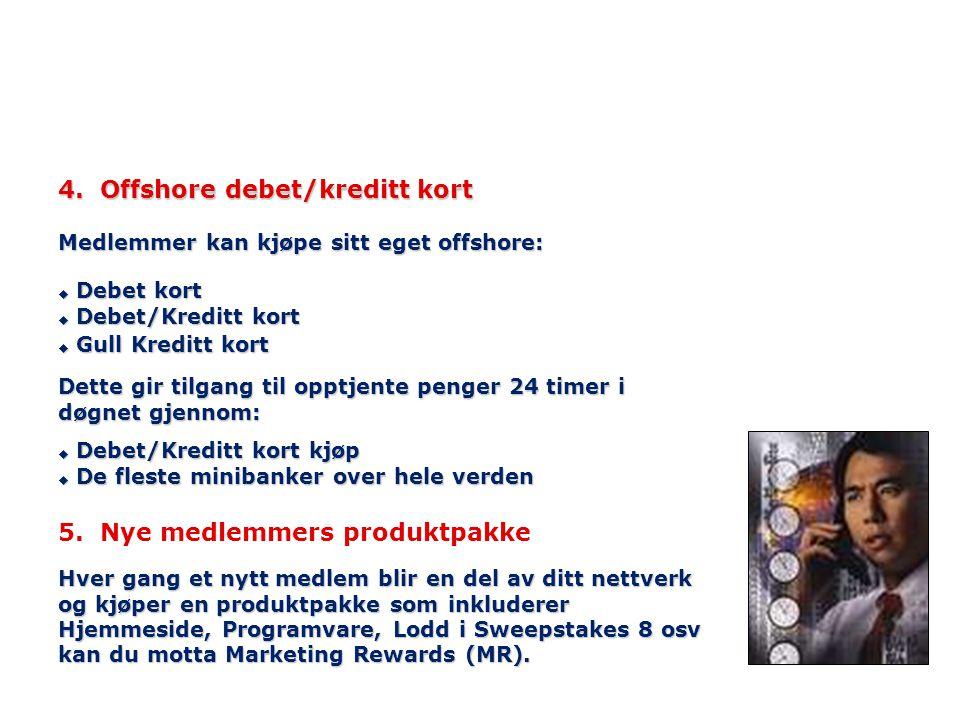 4. Offshore debet/kreditt kort uDebet kort uDebet/Kreditt kort uGull Kreditt kort Medlemmer kan kjøpe sitt eget offshore: u Debet/Kreditt kort kjøp u