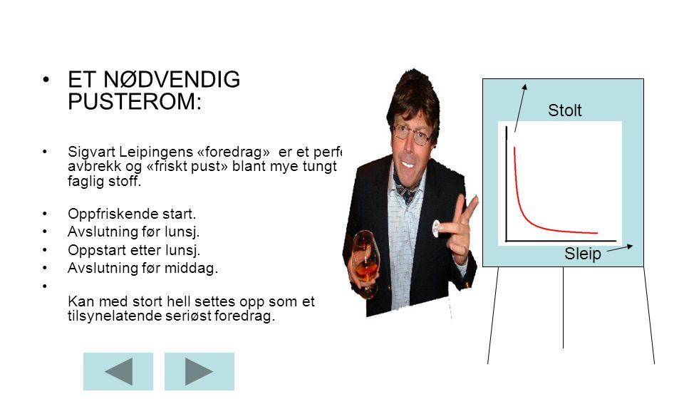 •ET NØDVENDIG PUSTEROM: •Sigvart Leipingens «foredrag» er et perfekt avbrekk og «friskt pust» blant mye tungt faglig stoff.