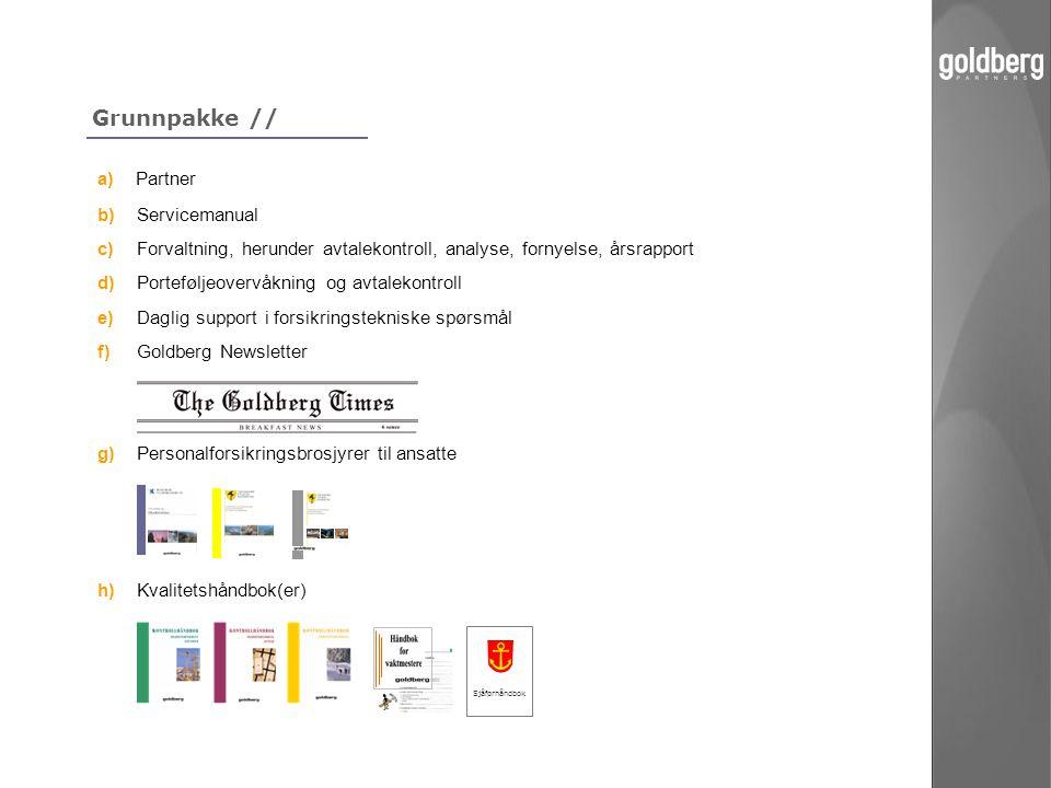 Grunnpakke // a) Partner b) Servicemanual c) Forvaltning, herunder avtalekontroll, analyse, fornyelse, årsrapport d)Porteføljeovervåkning og avtalekon