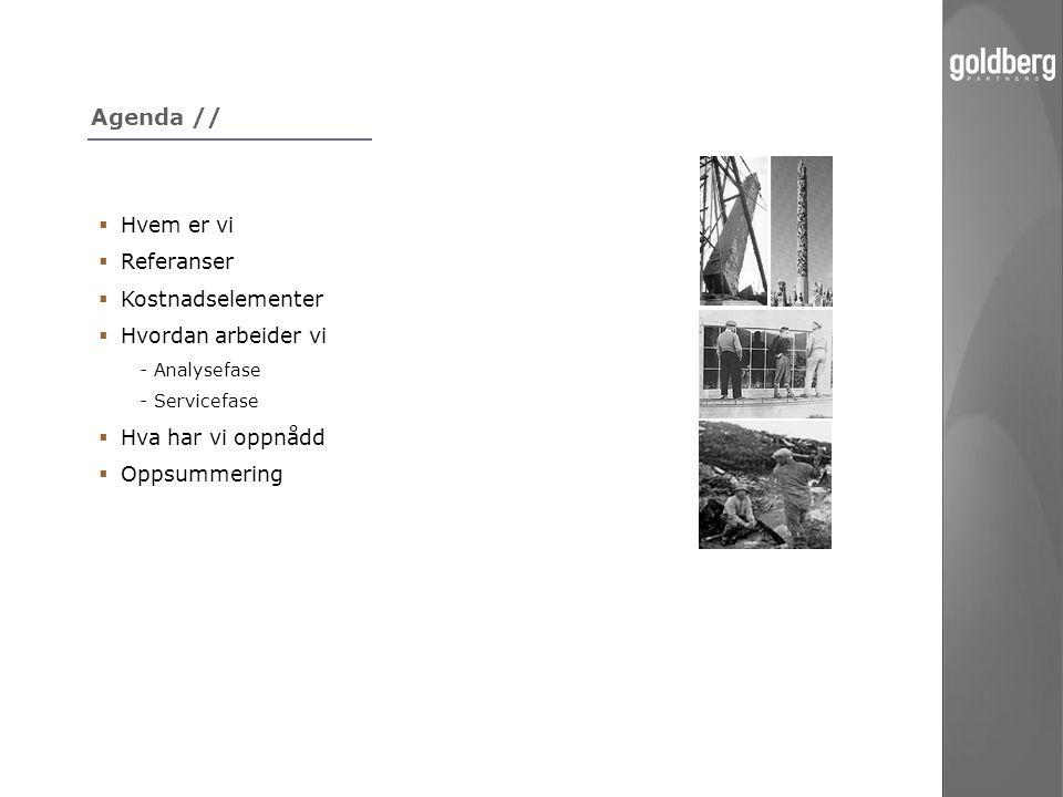 Agenda //  Hvem er vi  Referanser  Kostnadselementer  Hvordan arbeider vi - Analysefase - Servicefase  Hva har vi oppnådd  Oppsummering