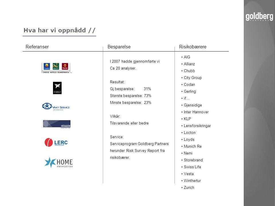 Hva har vi oppnådd // Referanser Besparelse Risikobærere • AIG • Allianz • Chubb • City Group • Codan • Gerling • if… • Gjensidige • Inter Hannover •
