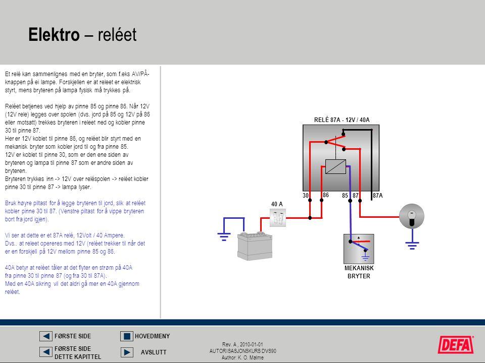 Rev. A, 2010-01-01 AUTORISASJONSKURS DVS90 Author: K. O. Malme Elektro – reléet Et relé kan sammenlignes med en bryter, som f.eks AV/PÅ- knappen på ei