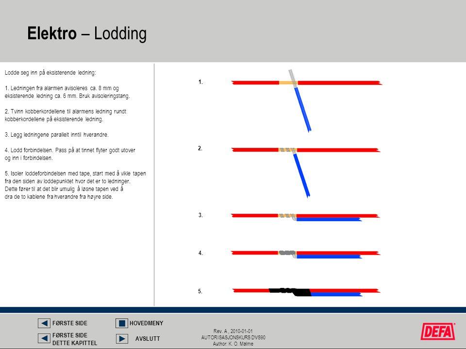 Rev. A, 2010-01-01 AUTORISASJONSKURS DVS90 Author: K. O. Malme Lodde seg inn på eksisterende ledning: 1. Ledningen fra alarmen avisoleres ca. 8 mm og