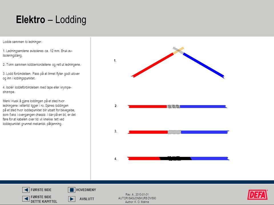 Rev. A, 2010-01-01 AUTORISASJONSKURS DVS90 Author: K. O. Malme Lodde sammen to ledninger: 1. Ledningsendene avisoleres ca. 12 mm. Bruk av- Isoleringst