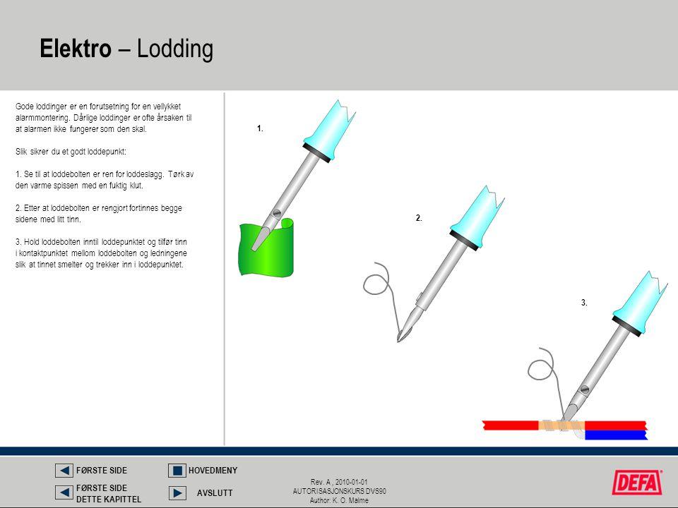 Rev. A, 2010-01-01 AUTORISASJONSKURS DVS90 Author: K. O. Malme Elektro – Lodding Gode loddinger er en forutsetning for en vellykket alarmmontering. Då