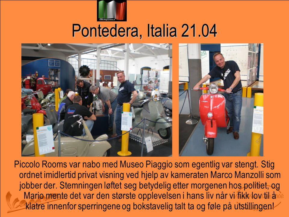 Pontedera, Italia 21.04 Piccolo Rooms var nabo med Museo Piaggio som egentlig var stengt.