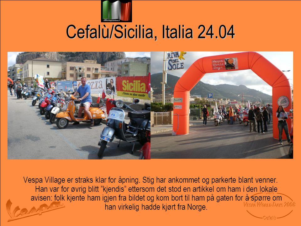 Cefalù/Sicilia, Italia 24.04 Vespa Village er straks klar for åpning.