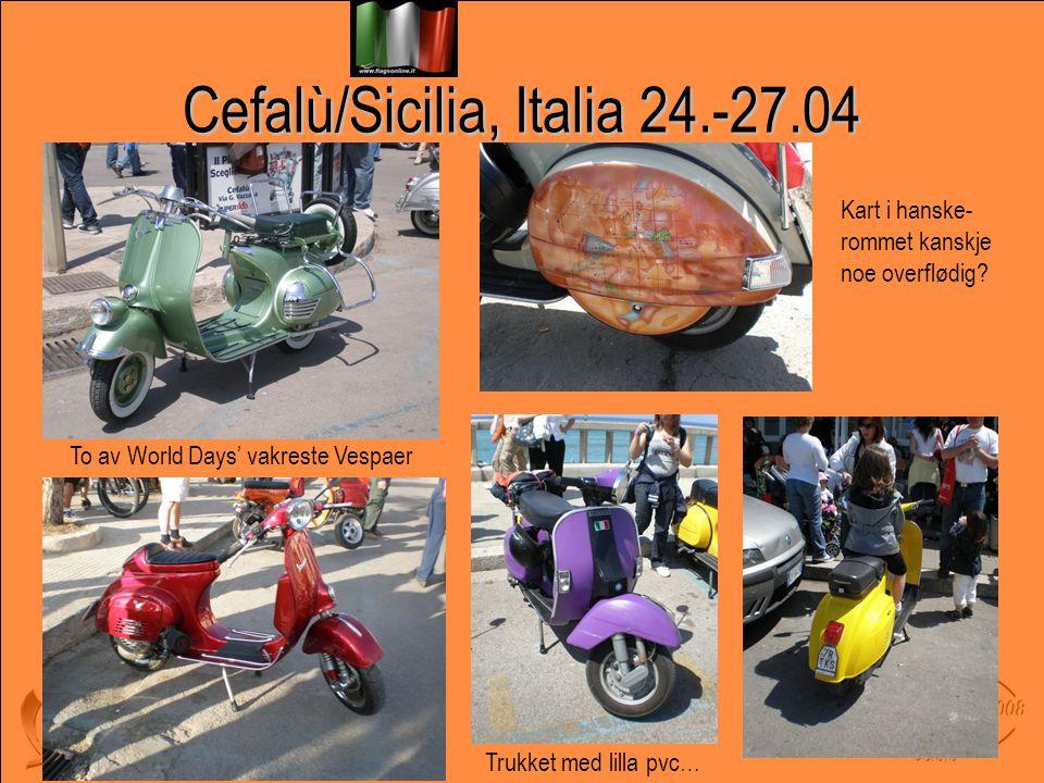 Cefalù/Sicilia, Italia 24.-27.04 To av World Days' vakreste Vespaer Trukket med lilla pvc… Kart i hanske- rommet kanskje noe overflødig?