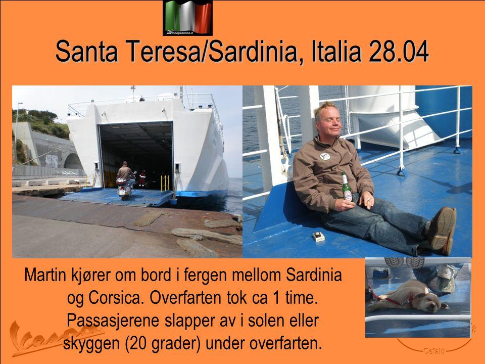 Santa Teresa/Sardinia, Italia 28.04 Martin kjører om bord i fergen mellom Sardinia og Corsica.