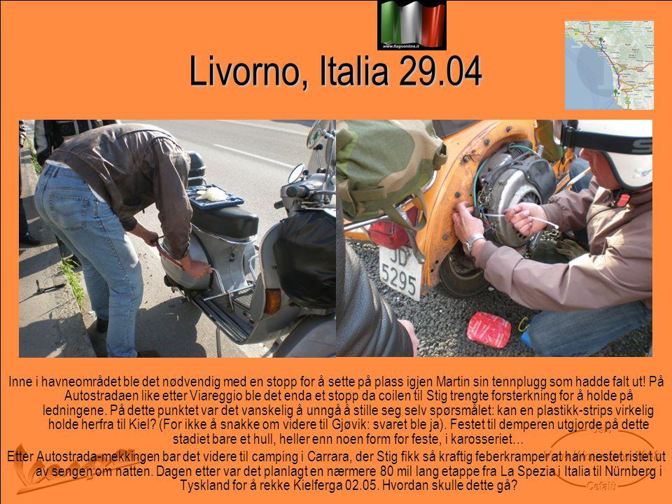 Livorno, Italia 29.04 Inne i havneområdet ble det nødvendig med en stopp for å sette på plass igjen Martin sin tennplugg som hadde falt ut.