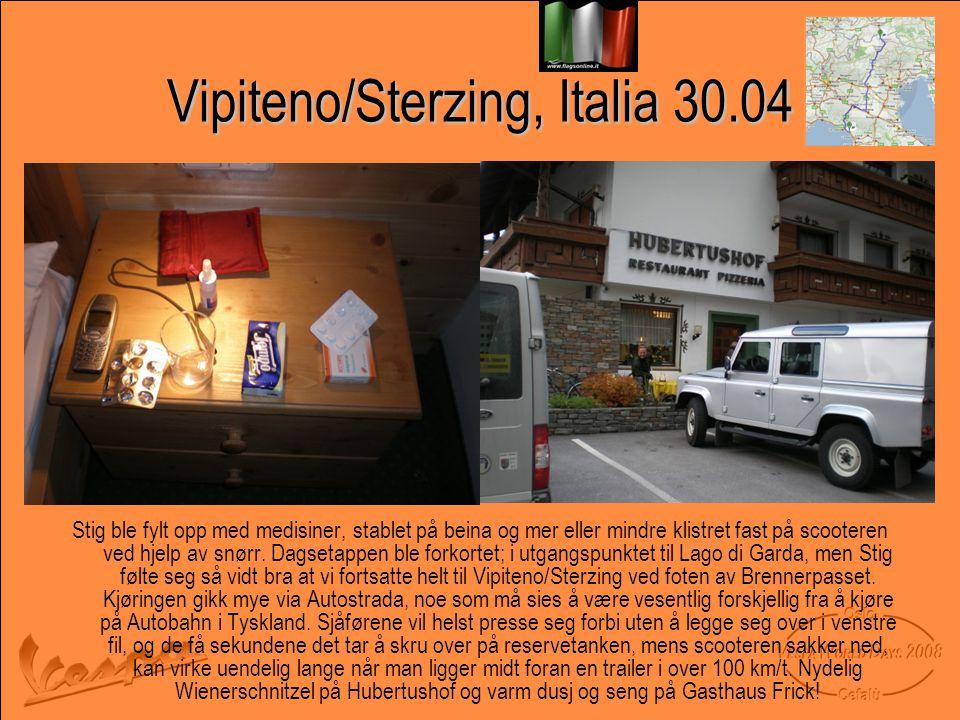 Vipiteno/Sterzing, Italia 30.04 Stig ble fylt opp med medisiner, stablet på beina og mer eller mindre klistret fast på scooteren ved hjelp av snørr.