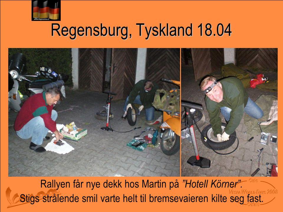 Regensburg, Tyskland 18.04 Rallyen får nye dekk hos Martin på Hotell Körner .