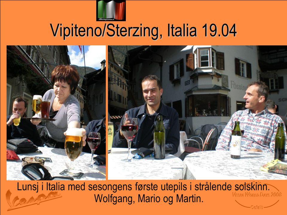 Vipiteno/Sterzing, Italia 19.04 Lunsj i Italia med sesongens første utepils i strålende solskinn.