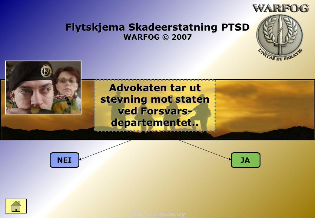 Flytskjema Skadeerstatning PTSD WARFOG © 2007 https:www.warfog.org NEIJA Advokaten tar ut stevning mot staten ved Forsvars- departementet..