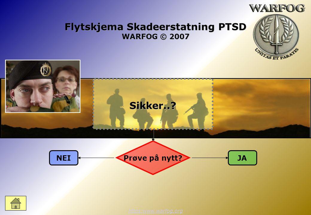 Flytskjema Skadeerstatning PTSD WARFOG © 2007 https:www.warfog.orgSikker..? Prøve på nytt? JANEI
