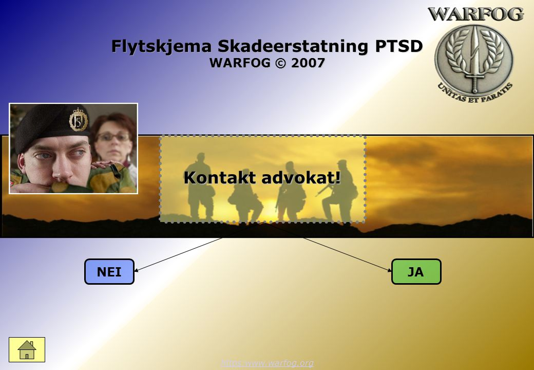 Flytskjema Skadeerstatning PTSD WARFOG © 2007 https:www.warfog.org NEIJA Kontakt advokat!