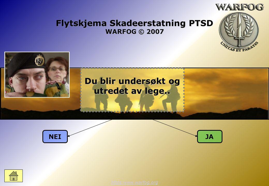 Flytskjema Skadeerstatning PTSD WARFOG © 2007 https:www.warfog.org NEIJA Du blir undersøkt og utredet av lege..