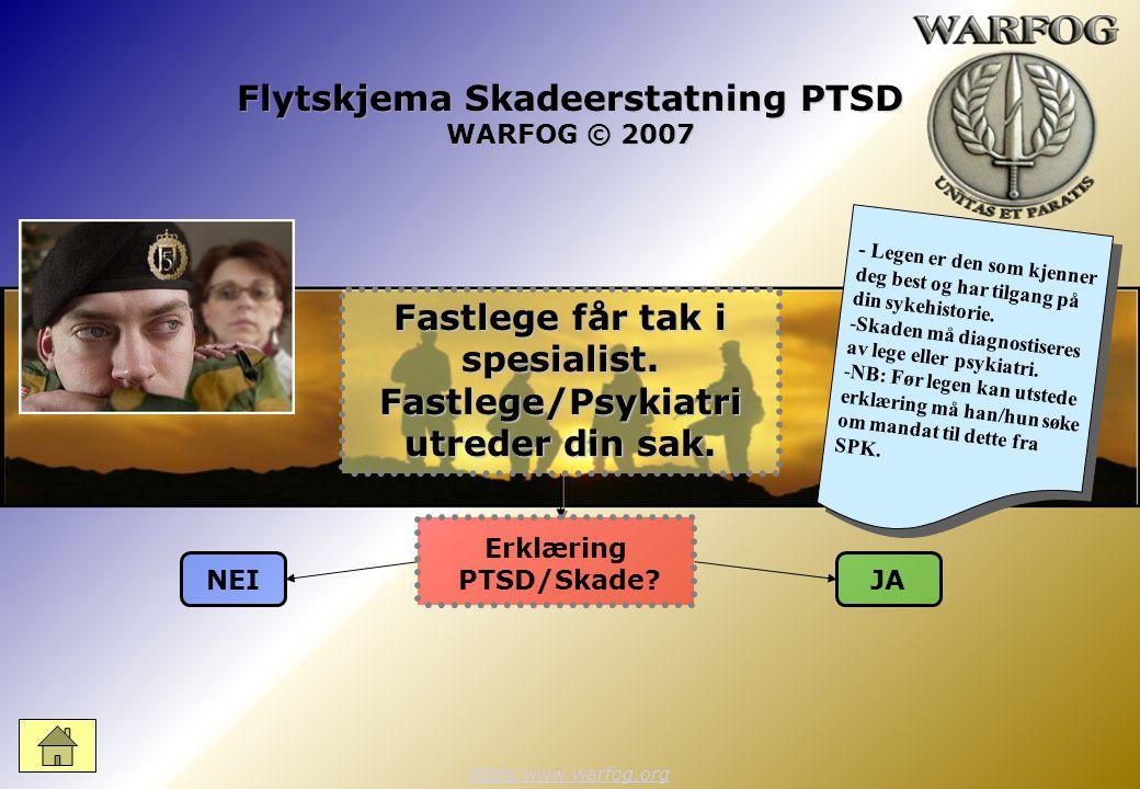 Flytskjema Skadeerstatning PTSD WARFOG © 2007 https:www.warfog.org NEIJA Erklæring PTSD/Skade.