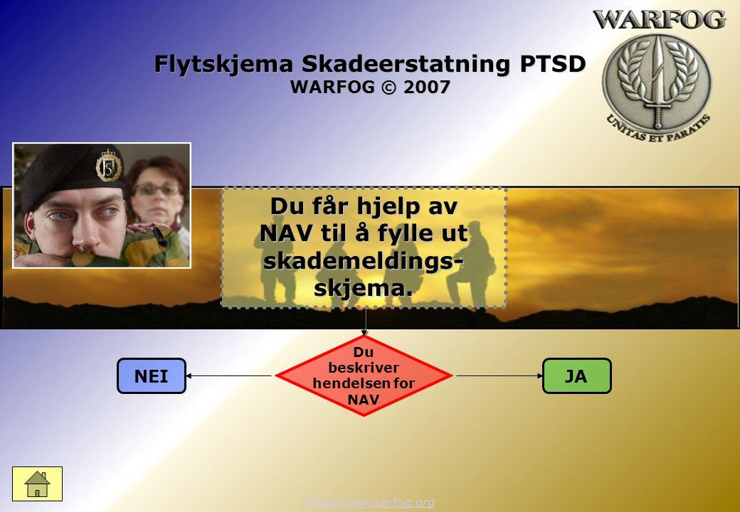 Flytskjema Skadeerstatning PTSD WARFOG © 2007 https:www.warfog.org Du beskriver hendelsen for NAV NEIJA Du får hjelp av NAV til å fylle ut skademeldings- skjema.