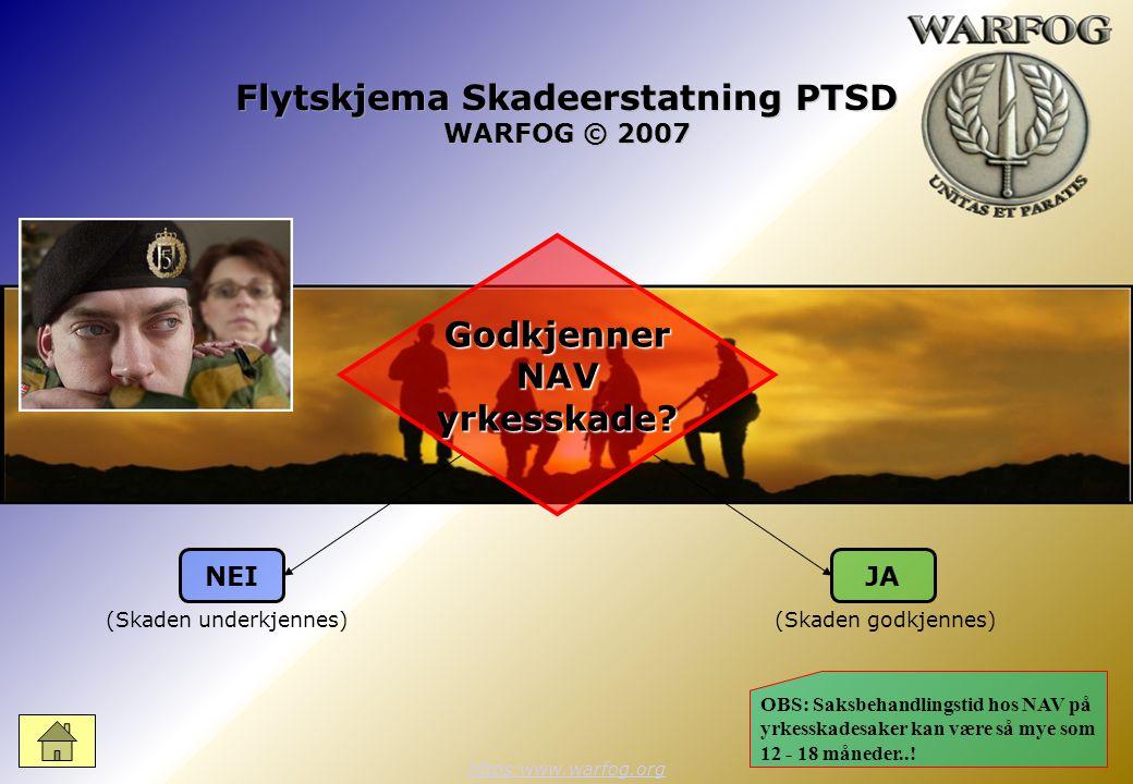 Flytskjema Skadeerstatning PTSD WARFOG © 2007 https:www.warfog.org NEIJA Godkjenner NAV yrkesskade.