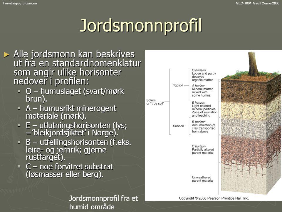 GEO-1001 Geoff Corner 2006Forvitring og jordsmonnJordsmonnprofil ► Alle jordsmonn kan beskrives ut fra en standardnomenklatur som angir ulike horisonter nedover i profilen:  O – humuslaget (svart/mørk brun).