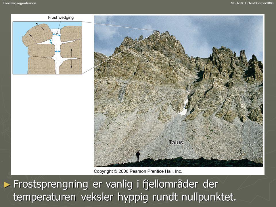 GEO-1001 Geoff Corner 2006Forvitring og jordsmonn Feldspat  leirmineral 2KAlSi 3 O 8 + 2(H + + HCO 3 - ) + H 2 0  Al 2 Si 5 (OH) 4 + 2K + + 2HCO 3 - + 4SiO 2 Al 2 Si 5 (OH) 4 + 2K + + 2HCO 3 - + 4SiO 2 Kullsyre Kalifeltspat Leirmineral Vann I løsning kalium, bikarbonat og kisel ioner Ny mineral