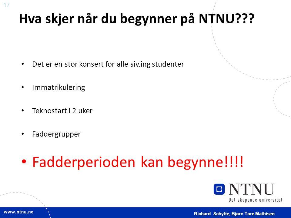 17 Hva skjer når du begynner på NTNU??? • Det er en stor konsert for alle siv.ing studenter • Immatrikulering • Teknostart i 2 uker • Faddergrupper •