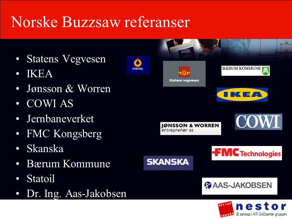 Norske Buzzsaw referanser •Statens Vegvesen •IKEA •Jønsson & Worren •COWI AS •Jernbaneverket •FMC Kongsberg •Skanska •Bærum Kommune •Statoil •Dr. Ing.