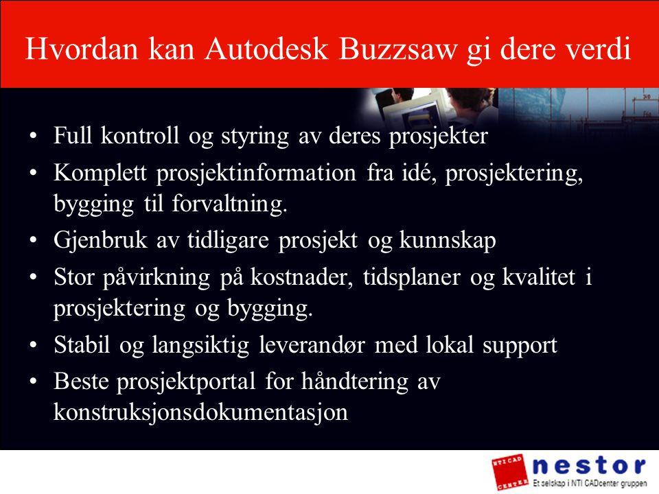 Hvordan kan Autodesk Buzzsaw gi dere verdi •Full kontroll og styring av deres prosjekter •Komplett prosjektinformation fra idé, prosjektering, bygging