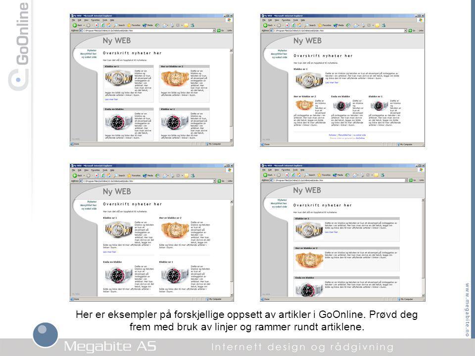 Her er eksempler på forskjellige oppsett av artikler i GoOnline.