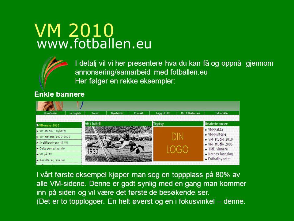 VM 2010 www.fotballen.eu I detalj vil vi her presentere hva du kan få og oppnå gjennom annonsering/samarbeid med fotballen.eu Her følger en rekke eksempler: Enkle bannere I vårt første eksempel kjøper man seg en toppplass på 80% av alle VM-sidene.