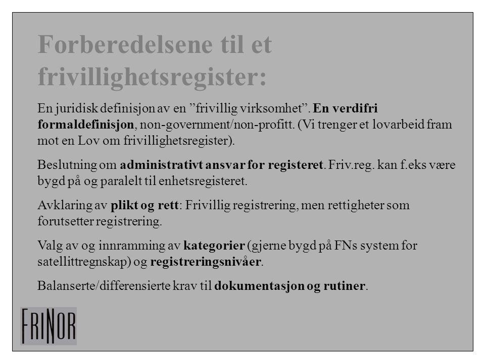 """Forberedelsene til et frivillighetsregister: En juridisk definisjon av en """"frivillig virksomhet"""". En verdifri formaldefinisjon, non-government/non-pro"""