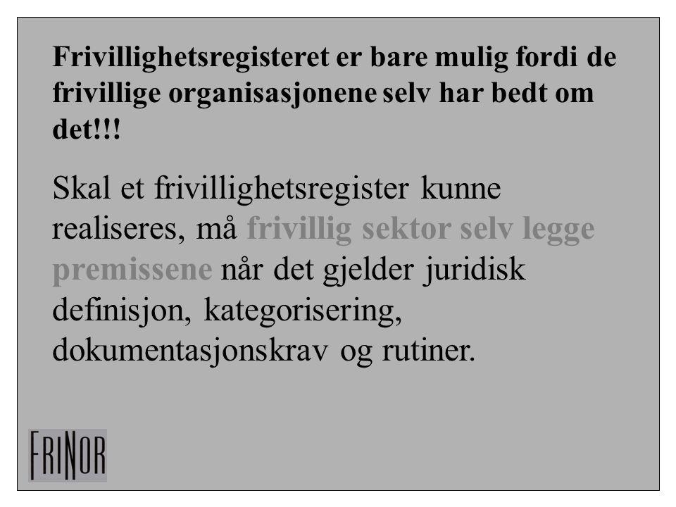 Frivillighetsregisteret er bare mulig fordi de frivillige organisasjonene selv har bedt om det!!! Skal et frivillighetsregister kunne realiseres, må f