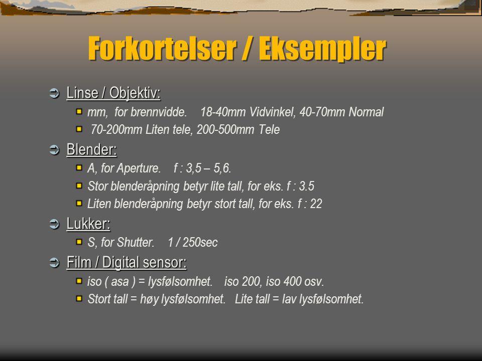 Forkortelser / Eksempler  Linse / Objektiv: mm, for brennvidde.