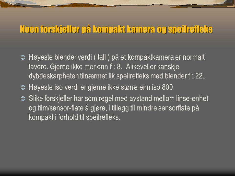 Noen forskjeller på kompakt kamera og speilrefleks  Høyeste blender verdi ( tall ) på et kompaktkamera er normalt lavere.