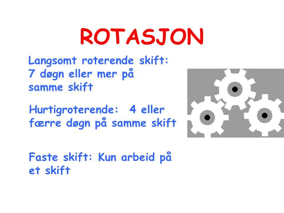 ROTASJON Langsomt roterende skift: 7 døgn eller mer på samme skift Hurtigroterende: 4 eller færre døgn på samme skift Faste skift: Kun arbeid på et skift