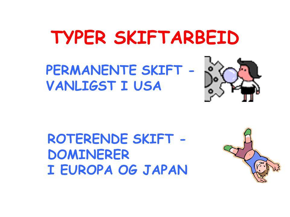 TYPER SKIFTARBEID PERMANENTE SKIFT - VANLIGST I USA ROTERENDE SKIFT - DOMINERER I EUROPA OG JAPAN