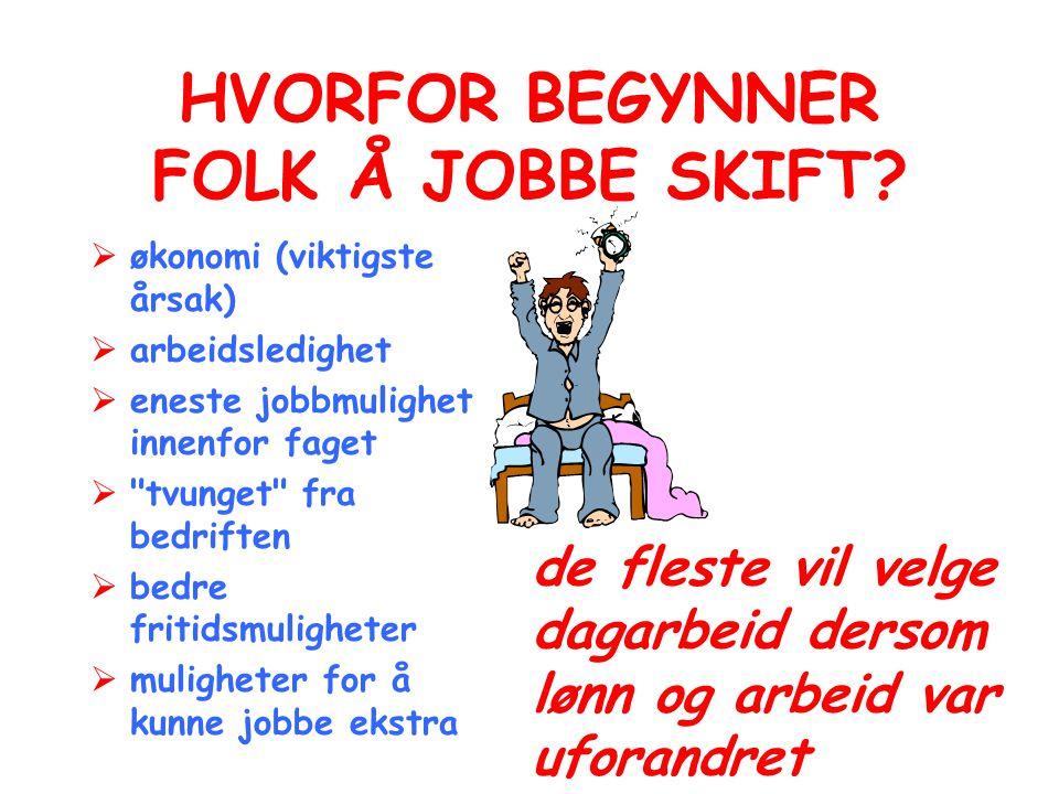 HVORFOR BEGYNNER FOLK Å JOBBE SKIFT?  økonomi (viktigste årsak)  arbeidsledighet  eneste jobbmulighet innenfor faget 