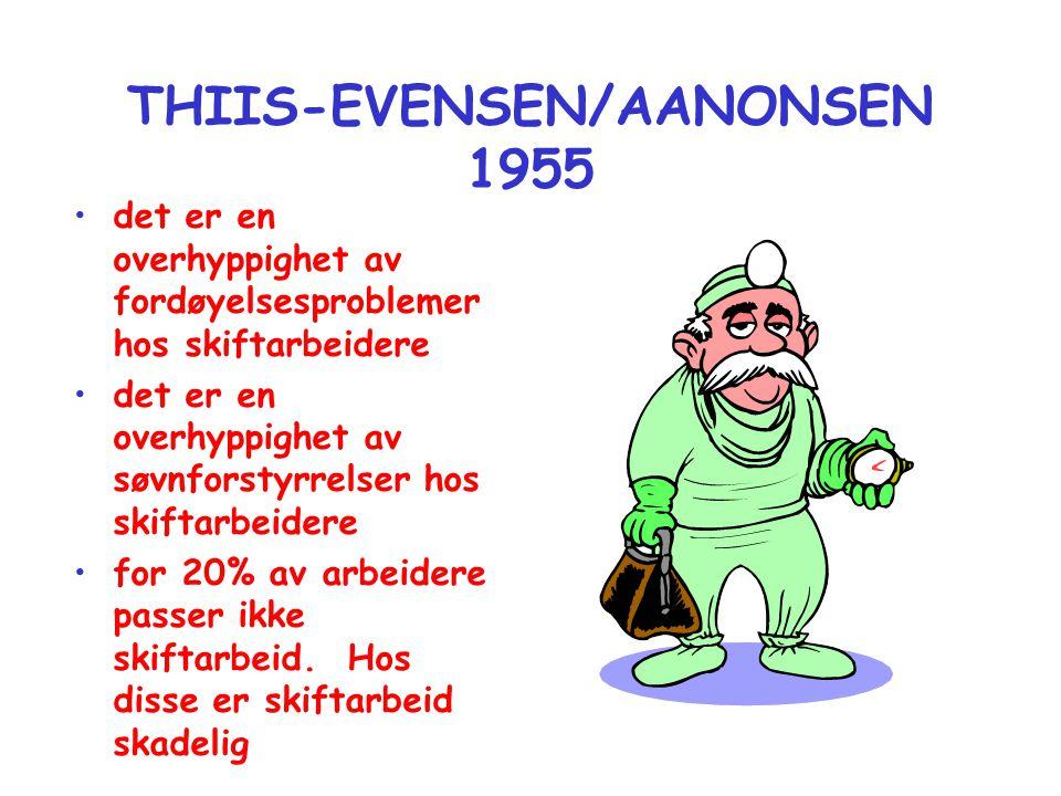 THIIS-EVENSEN/AANONSEN 1955 •det er en overhyppighet av fordøyelsesproblemer hos skiftarbeidere •det er en overhyppighet av søvnforstyrrelser hos skif