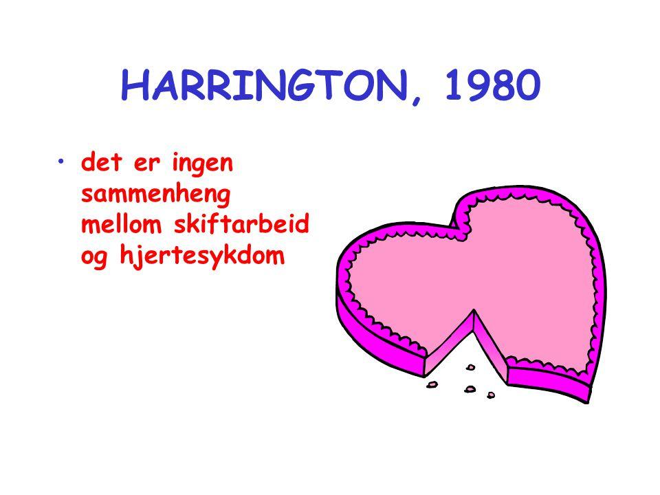 HARRINGTON, 1980 •det er ingen sammenheng mellom skiftarbeid og hjertesykdom