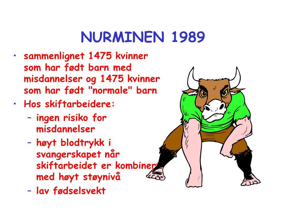 NURMINEN 1989 •sammenlignet 1475 kvinner som har født barn med misdannelser og 1475 kvinner som har født