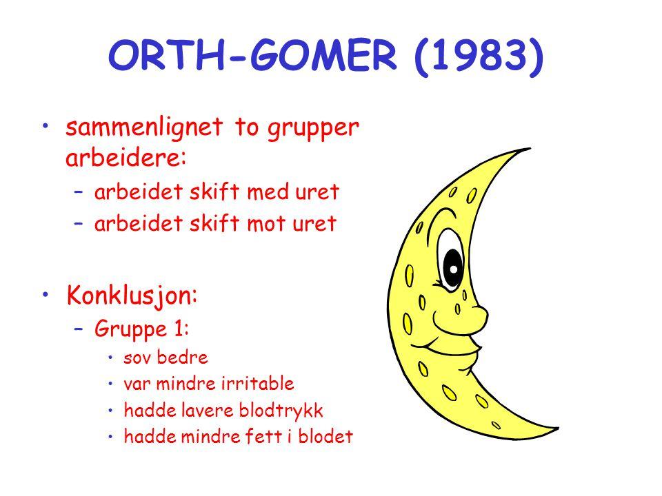 ORTH-GOMER (1983) •sammenlignet to grupper arbeidere: –arbeidet skift med uret –arbeidet skift mot uret •Konklusjon: –Gruppe 1: •sov bedre •var mindre irritable •hadde lavere blodtrykk •hadde mindre fett i blodet