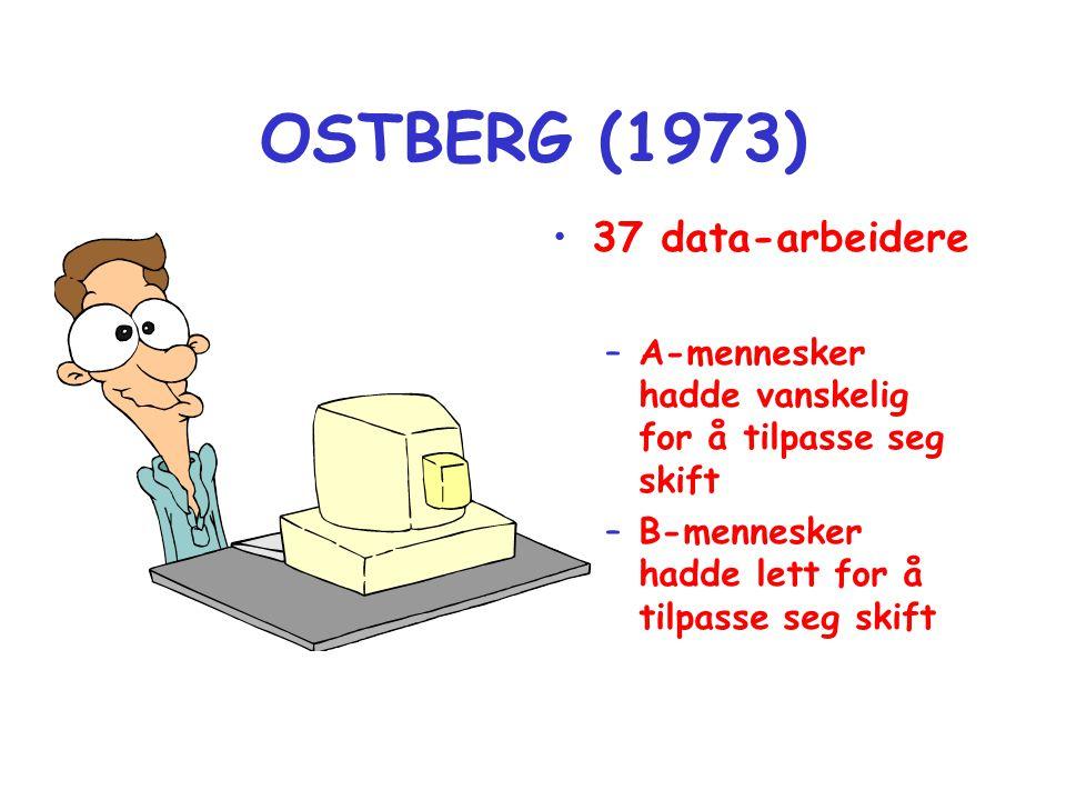 OSTBERG (1973) •37 data-arbeidere –A-mennesker hadde vanskelig for å tilpasse seg skift –B-mennesker hadde lett for å tilpasse seg skift
