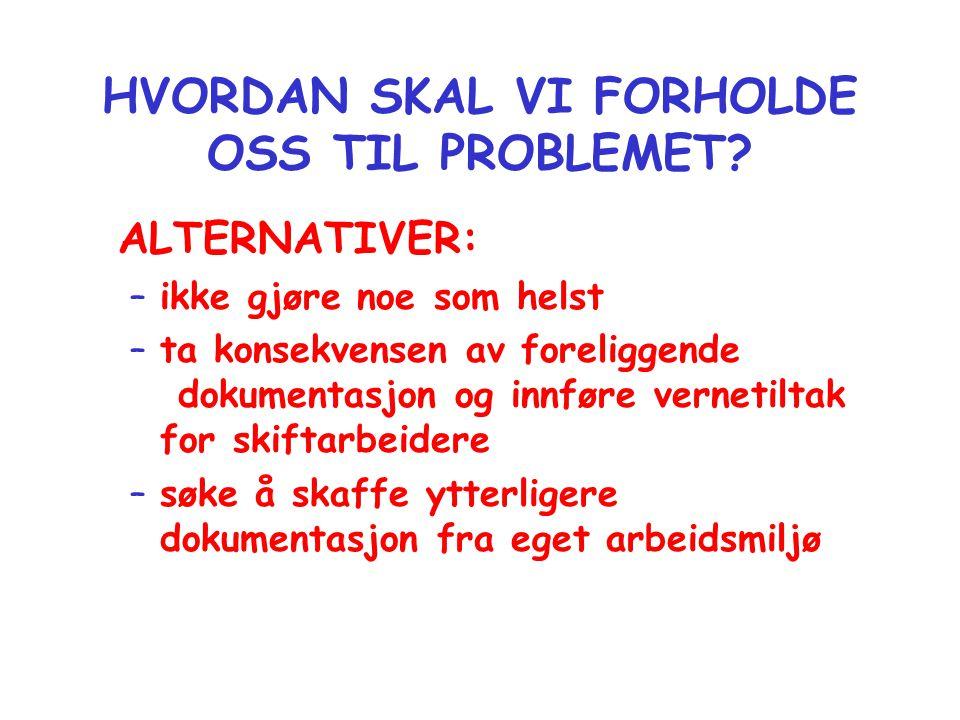 HVORDAN SKAL VI FORHOLDE OSS TIL PROBLEMET? ALTERNATIVER: –ikke gjøre noe som helst –ta konsekvensen av foreliggende dokumentasjon og innføre vernetil