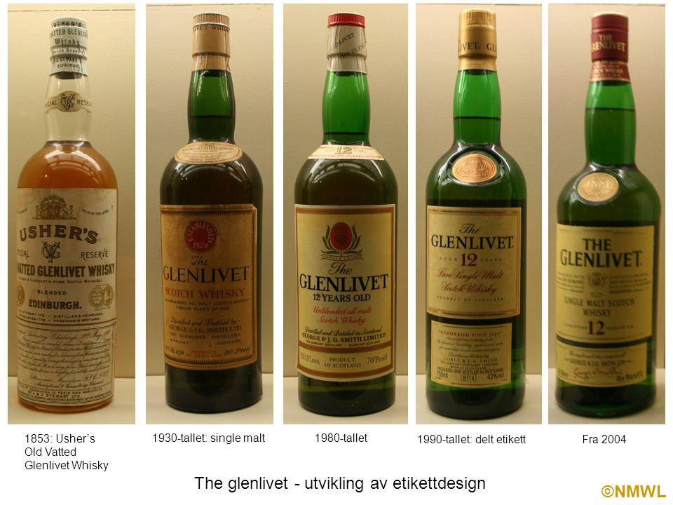 ©NMWL The glenlivet - utvikling av etikettdesign 1853: Usher's Old Vatted Glenlivet Whisky 1930-tallet: single malt1980-tallet 1990-tallet: delt etikett Fra 2004