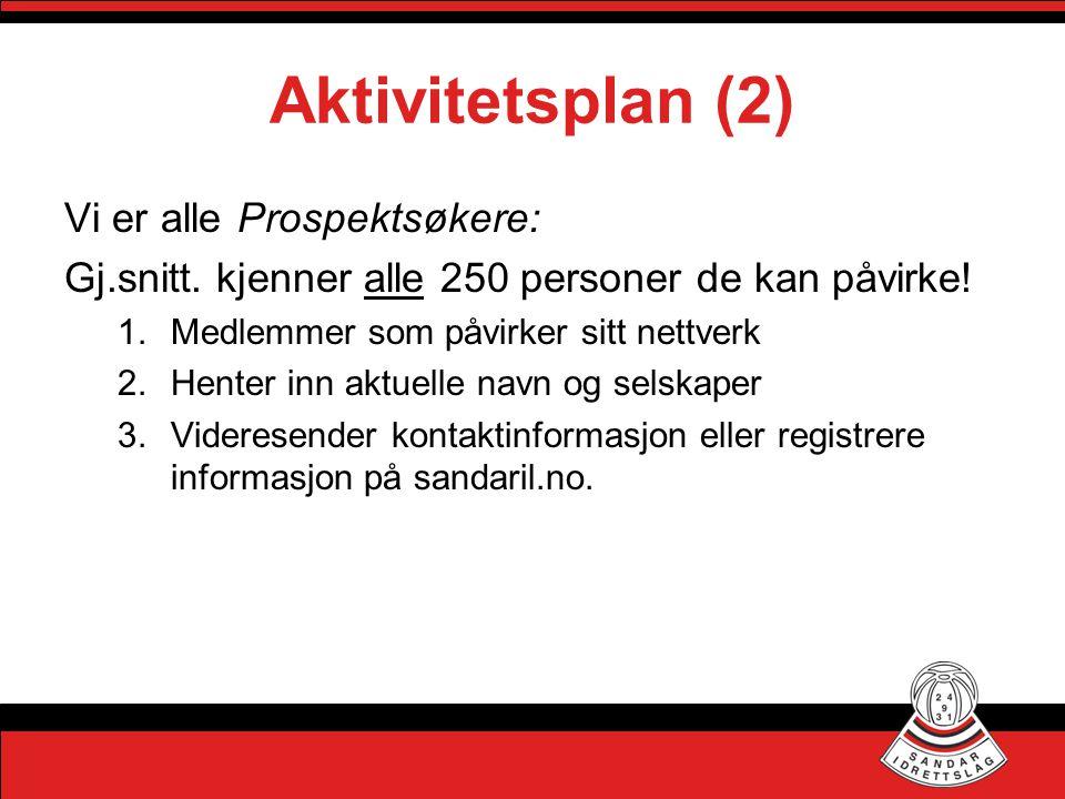 Aktivitetsplan (2) Vi er alle Prospektsøkere: Gj.snitt. kjenner alle 250 personer de kan påvirke! 1.Medlemmer som påvirker sitt nettverk 2.Henter inn
