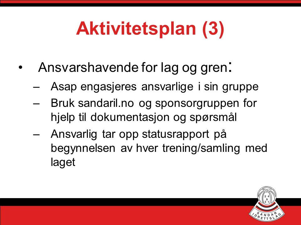 Aktivitetsplan (3) •Ansvarshavende for lag og gren : –Asap engasjeres ansvarlige i sin gruppe –Bruk sandaril.no og sponsorgruppen for hjelp til dokume