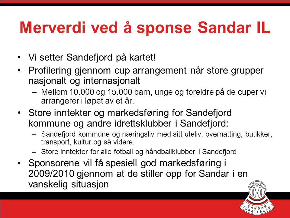 Merverdi ved å sponse Sandar IL •Vi setter Sandefjord på kartet! •Profilering gjennom cup arrangement når store grupper nasjonalt og internasjonalt –M